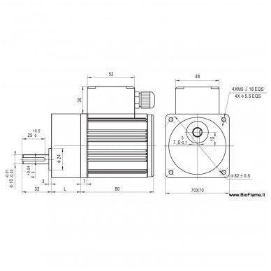 Motoreduktorius 8 aps/min, variklis 15W kintamos srovės 3
